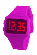 LED LED-PK-STP Unisex Digital Pink Dial And Pu Strap