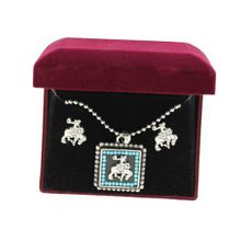 Lightning Ridge 29973 Cowboy Square Concho Jewelry Set Silver/Turquoise