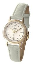 Limit Classic Ivory Dial Gold Plated Case Ivory Strap Ladies 6975
