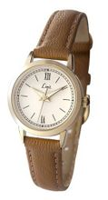 Limit Classic Ivory Dial Gold Plated Case Tan Brown Strap Ladies 6977