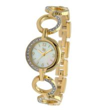 Lip 10827722 Analog Quartz Golden , White Dial and Golden Metal Bracelet with Rhinestones