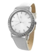 Lip 10910212 Analog Quartz Steel with Rhinestones, Silver Dial and White Leather Strap