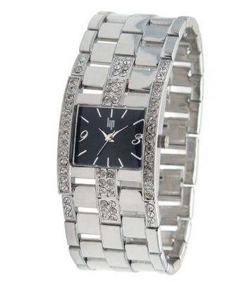 Lip Style Analogue Quartz 10839012 Silver Brass Bracelet Black Dial