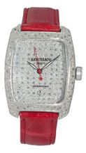 Locman Alum Ladies Diamond Pave Dial Red Strap 488DCDC