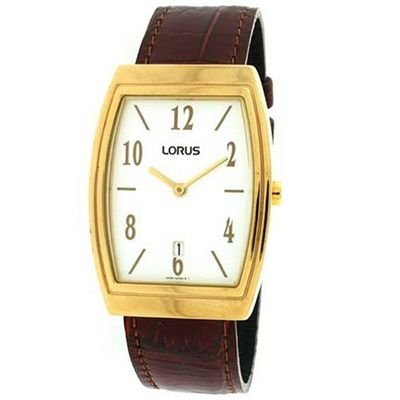 Lorus  Classic Calendar Gold-Tone Case Brown Leather Band SALE