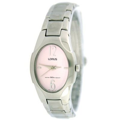Lorus Ladies Link Stainless Steel Oval Pink Easy To Read Dial Classic Design SALE