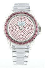 LTD - LTD 010102 - Limited Edition LTD with Clear plastic Strap, Case and Bezel with Pink Stone Set Bezel and Dial