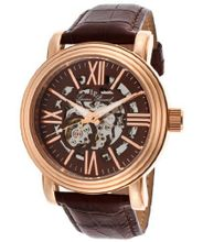 Domineer Automatic Brown And Skeletonized Dial Brown Genuine Leather