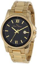Lucien Piccard 10048-YG-11 Breithorn Black Textured Dial Gold Ion-Plated Stainless Steel