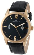 "Lucien Piccard 11561-YG-01 ""Watzmann"" Gold Ion-Plated with Black Leather Strap"