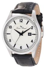 Lucien Piccard 11581-02S Weisshorn Silver Textured Dial Black Leather
