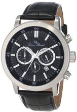 Lucien Piccard 12011-01 Monte Viso Chronograph Black Textured Dial Black Leather