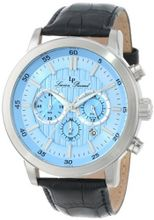 Lucien Piccard 12011-012 Monte Viso Chronograph Light Blue Textured Dial Black Leather Band