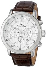 Lucien Piccard 12011-02-BRW Monte Viso Chronograph White Textured Dial Brown Leather