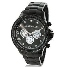 2 Carat Black Diamond Bezel for  by Luxurman