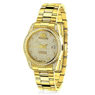 Iced Out Luxurman Ladies Diamond Yellow Gold Plated 1.5ct Tribeca