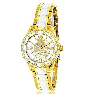 Luxurman Ladies Diamond Ceramic 1.25ct White MOP Galaxy Yellow