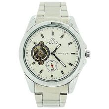 Mab London Automatic Gents All Stainless Steel White Skeleton Dial Plus Sub-Dial