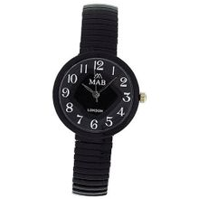 Mab London Black Dome Shaped Dial Ladies Expander Strap EXPS9