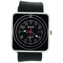 Mab London Black Square Dial Black Rubber Strap Ladies Unisex MRU1