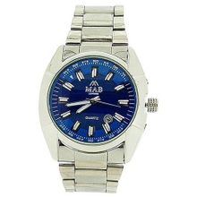 Mab London Calendar 2 Tone Blue 3D Dial Silver Tone Metal Strap Dress