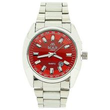 Mab London Calendar 2 Tone Red 3D Dial Silver Tone Metal Strap Dress