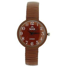 Mab London Chocolate Brown Dome Shaped Dial Ladies Expander Strap EXPS17
