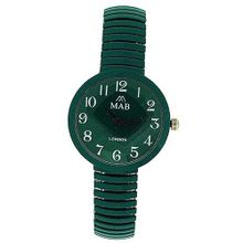 Mab London Forest Green Dome Shaped Dial Ladies Expander Strap EXPS1
