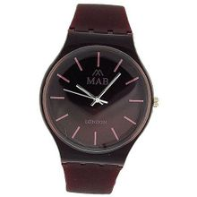 Mab London Gents- Burgundy Analogue & Burgundy Plastic Strap
