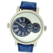 Mab London Gents Large Face With Two Sub Dials Blue PU Strap Casual 2Time