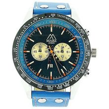 Mab London Gents Translucent Blue Dial Date & Blue Leather Strap Casual