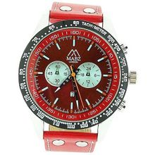 Mab London Gents Translucent Red Dial Date & Red Leather Strap Casual