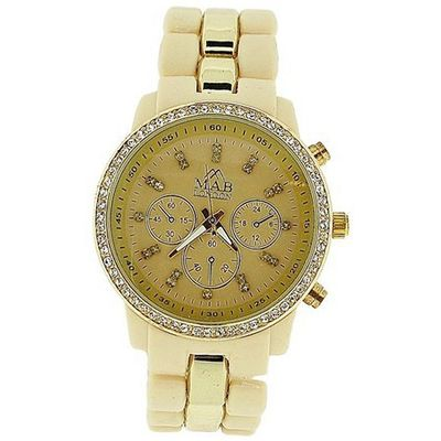 Mab London Ladies Stone Set Beige Dial Beige & Gold Tone Rubberised Strap