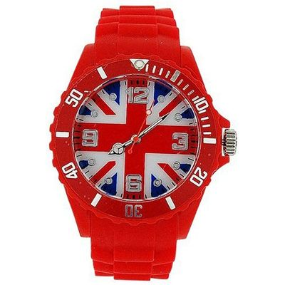 Mab London Unisex Union Jack Dial Red Rubber Strap Supporters Sports