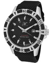 Invader Round Dial Color: Black, Strap Color: Black, Case Color: Black / White