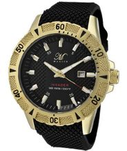 Invader Round Dial Color: Black, Strap Color: Black, Case Color: Gold tone