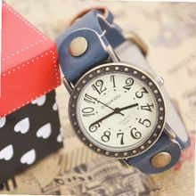 MagicPiece Handmade Vintage Style Leather For  Big Dial Cow Leather of Vintage Style in 5 Colors: Blue