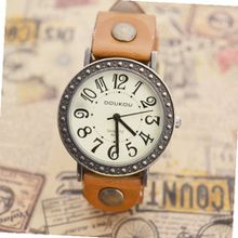 MagicPiece Handmade Vintage Style Leather For  Big Dial Cow Leather of Vintage Style in 5 Colors: Light Brown