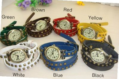 MagicPiece Handmade Vintage Style Leather For  Triple Wraps Leather with Square Rivets in 7 Colors: White