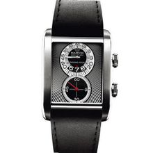 Exotic Marvin Rectangular Passing Hour Black Dial Swiss Made Black Leather