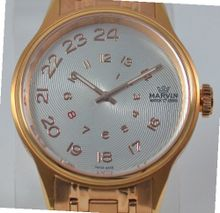 Ladies Marvin Exotic Spiraling Silver Dial Rose Gold Stainless Steel Swiss Made Dress