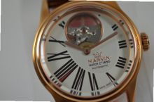 Ladies Marvin Rosetone Open Heart Silver Dial Brown Leather Swiss Automatic