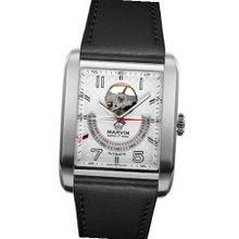 Marvin Automatic Swiss Made Open Heart Silver Dial Black Leather