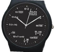 """Math Blackboard Dial"" Shows Math Equations At Each Hour Indicator of the Round Black Plastic with Black Plastic Strap."