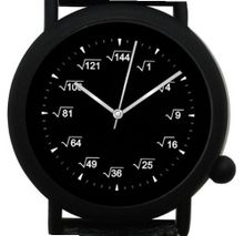 """Math Blackboard Dial"" Shows Square Root At Each Hour Indicator of the Round Black Metal with Black Leather Strap and Black Buckle"