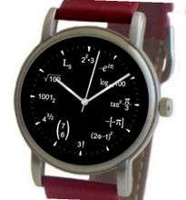 """Math Dial"" Shows Math Equations At Each Hour Indicator on the Black Dial of the Brushed Chrome with Red Leather Strap"