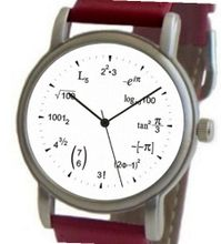 """Math Dial"" Shows Math Equations At Each Hour Indicator on the White Dial of the Brushed Chrome with Red Leather Strap"