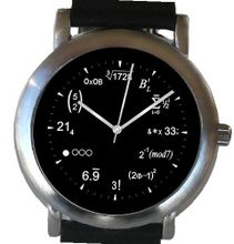 """Math Dial"" Shows Physics Equations At Each Hour Indicator of the Brushed Chrome with Black Leather Strap"