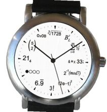 """Math Dial"" Shows Physics Equations At Each Hour Indicator on the White Dial of the Brushed Chrome with Black Leather Strap"