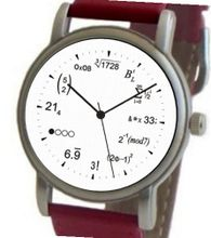 """Math Dial"" Shows Physics Equations At Each Hour Indicator on the White Dial of the Brushed Chrome with Red Leather Strap"